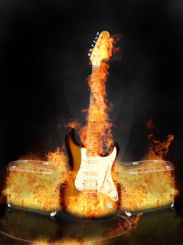 Prende Fuego tu guitarra, En photoshop.