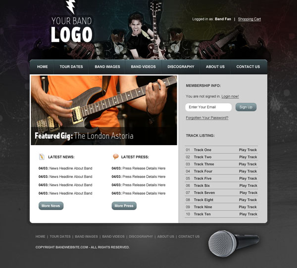 bandwebdesign24 Members Area Tutorial: Design a Rocking Grungy Band Website