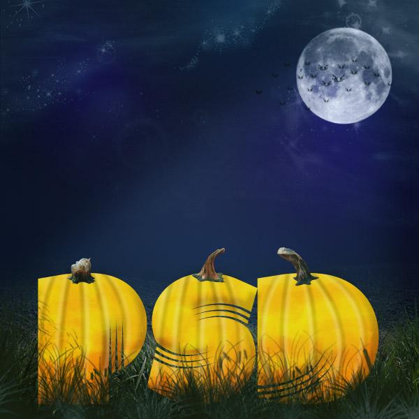 Текст из тыкв на Хэллоуин в фотошопе