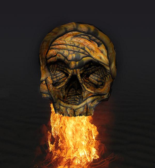 skullbranch12 Create a Halloween Inspired Flaming Wooden Skull