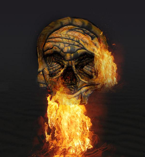 skullbranch14a Create a Halloween Inspired Flaming Wooden Skull