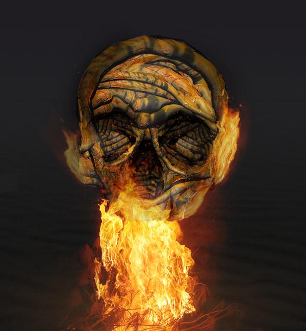 skullbranch16b Create a Halloween Inspired Flaming Wooden Skull