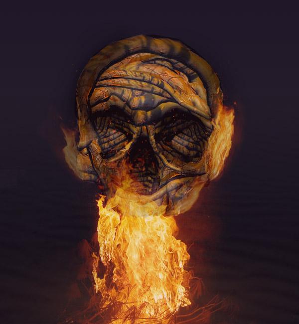 skullbranchfinal Create a Halloween Inspired Flaming Wooden Skull