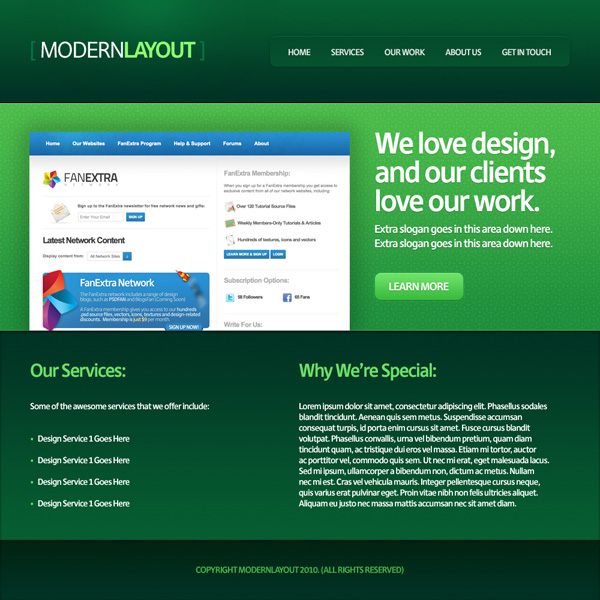 greenweblayout20b Design a Quick and Clean Portfolio Website