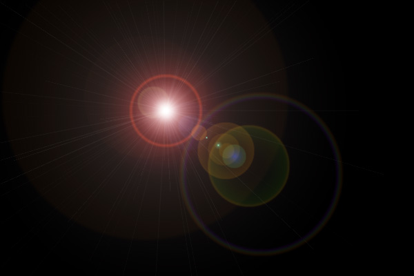 The image below shows the 'lens flare' layer at 'screen' blend