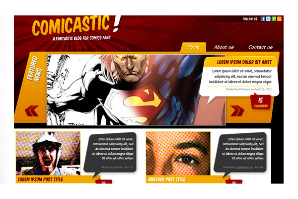 Comic Book Website Template Animated Comic Book Template For