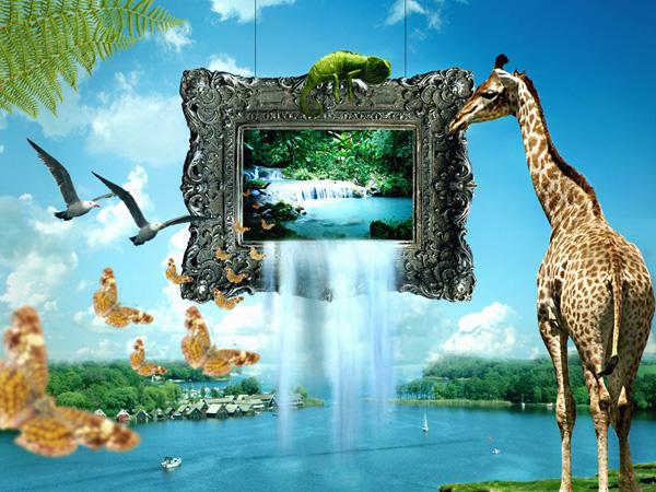 Картина с животными в стиле сюрреализма