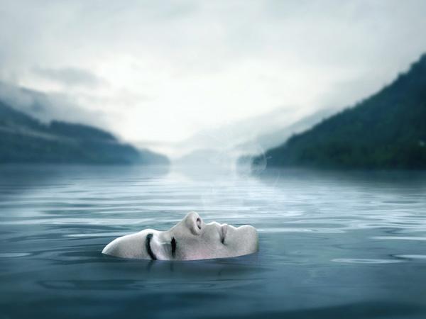 Реалистичная картина на озере в фотошопе