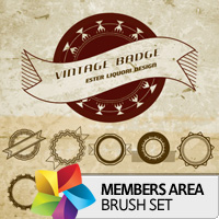Premium Brush Set: Vintage Badge