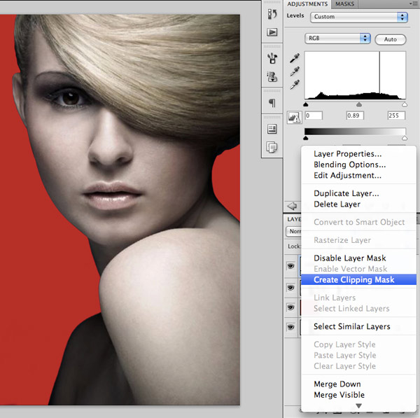 how to get adjustment layer to only effect certain layers