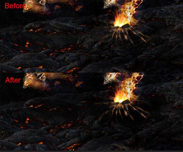 """最后的细节 所有层的顶部和组插入""""火焰2"""",名字前面火,大小和旋转它"""