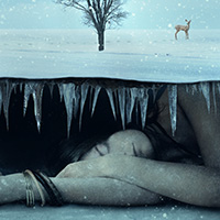 Photo Manipulate a Surreal Underground Scene with a Sleeping, Frozen Beauty